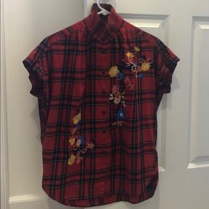 Madewell Embroidered Floral and Plaid blouse